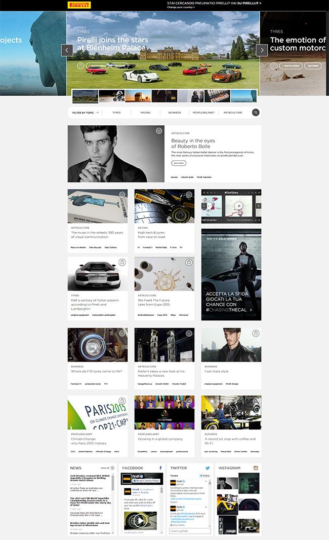 Il nuovo sito Pirelli