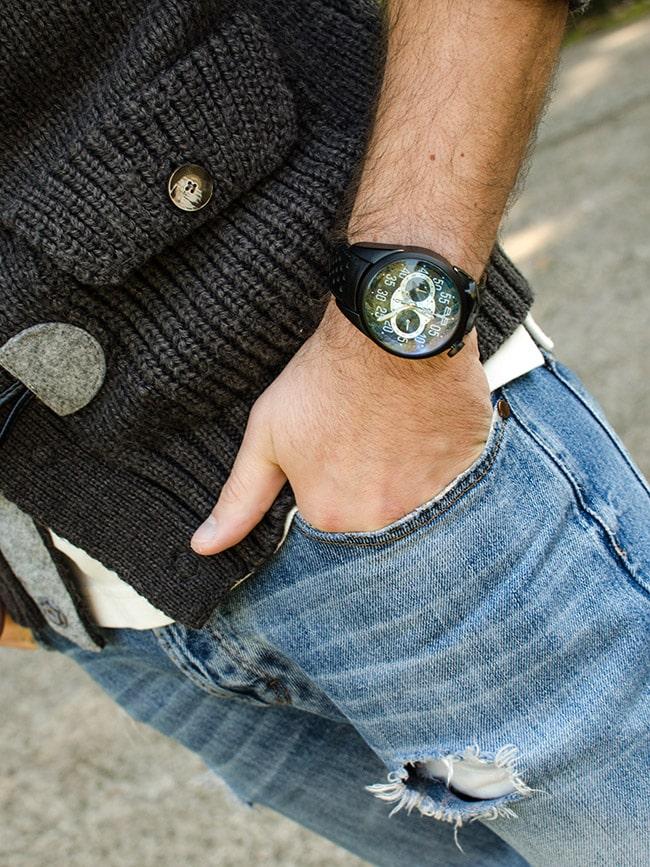 Christian Muraglia con l'orologio Bomberg
