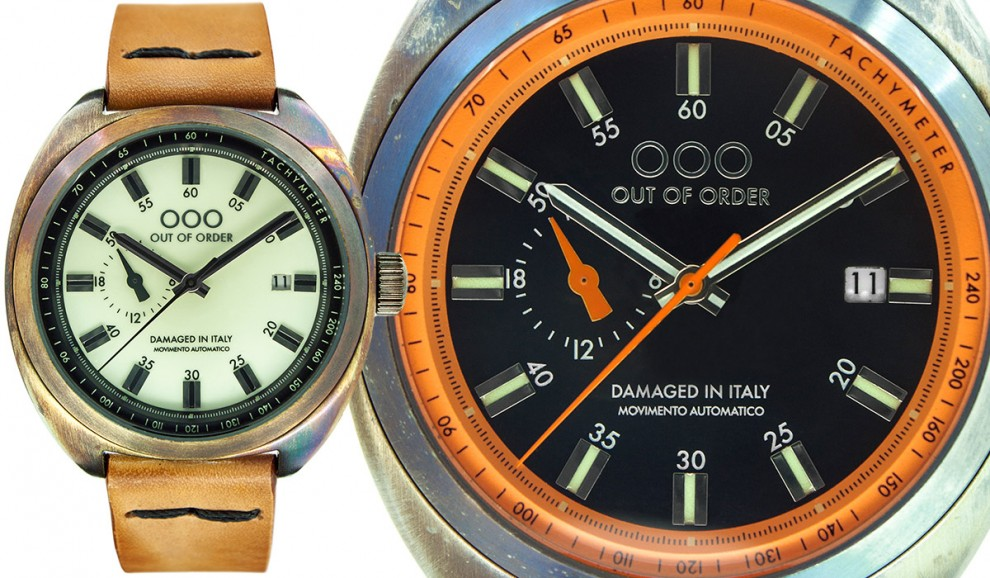 """OOO - OUT OF ORDER lancia Torpedine, un orologio dal sapore vintage rivisto in chiave moderna. Rimane saldo il concetto del """"Damaged in Italy"""", per il quale ogni orologio nasce già con aspetto invecchiato, sia nella cassa che nel cinturino."""
