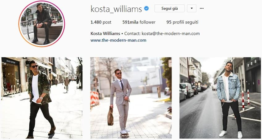 Kosta Williams - Pagina instagram moda uomo