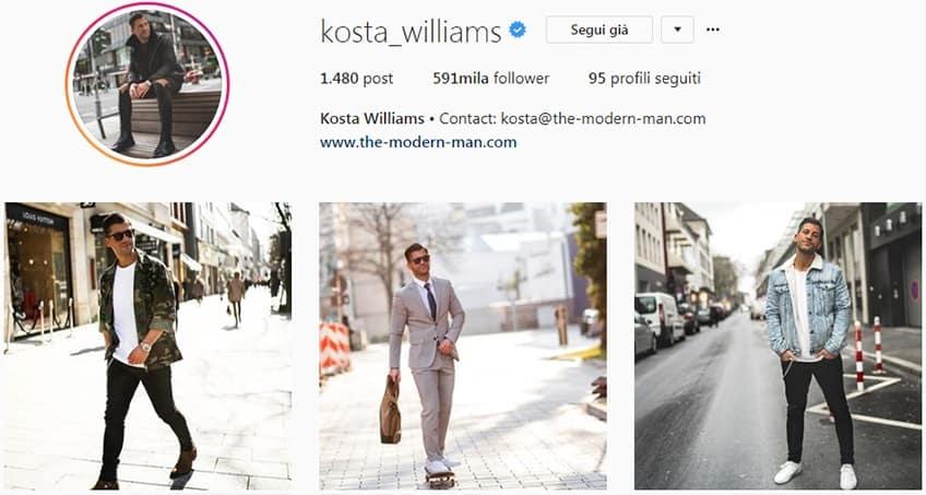 Kosta Williams - Pagina instagram moda uomo