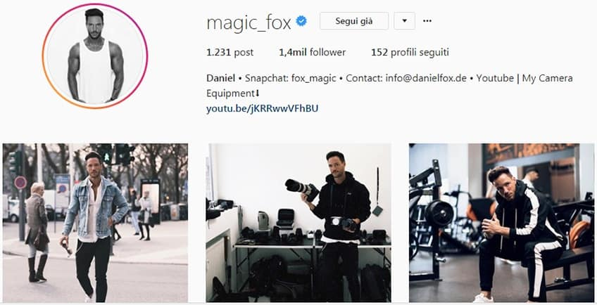 Magic_Fox - Profilo instagram moda uomo