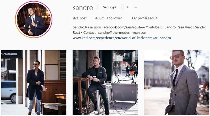 Sandro Rasà - Pagina instagram moda uomo
