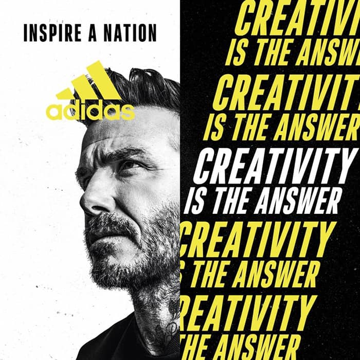 "David Beckham per la campagna adidas ""Creativity is the Answer"""
