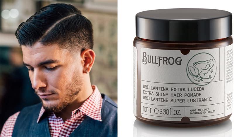 Taglio di capelli tradizionale con Brillantina Extra Lucida Bullfrog